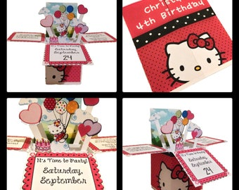 Hello Kitty pop up box Invitations-Hello Kitty Invitations