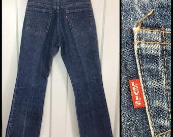 Vintage 1970's Levi's 517 Boot Cut flare Denim Blue Jeans 30X30 Talon zipper black bar stitch dark wash #284