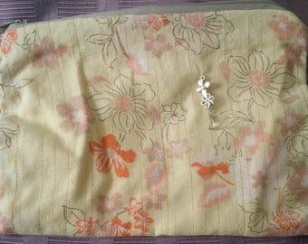 Yellow Bag with Orange Flower print