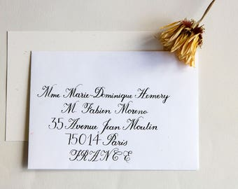 Envelope calligraphed by hand. Wedding, birthday, bar mitzvah event. English style