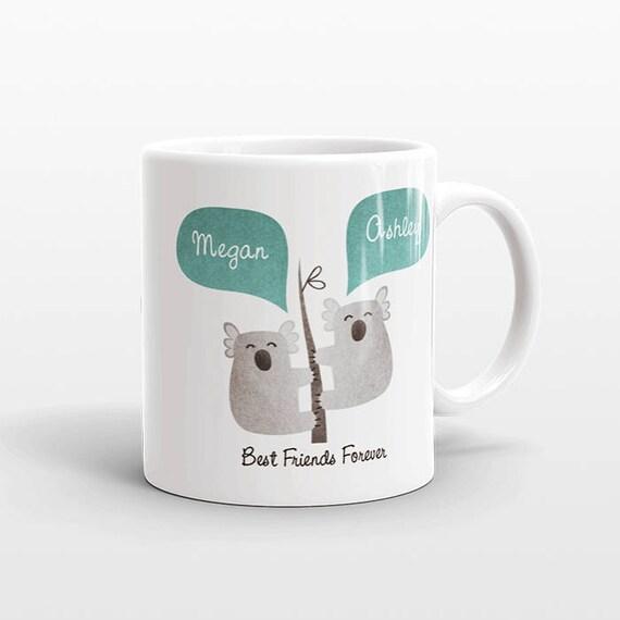 Best Friend Gift, Koala Mug, Personalized Best Friend Mug, Animal Best Friend Coffee Mug, Unique Friendship Gift Best Friend Birthday Gift