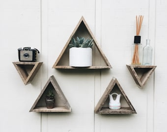 5 mini Triangle Shelves// Triangle Shelf// Reclaimed Wood// Pallet Art// Pallet Shelf// Geometric Shelf// Pallet Wood Art// Wall Art