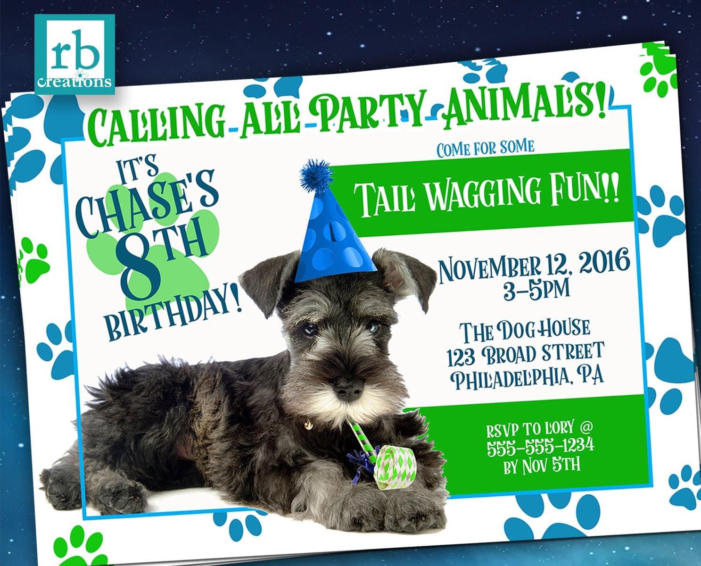 Puppy Party Invitation, Puppy Birthday, Puppy Birthday Invitation ...
