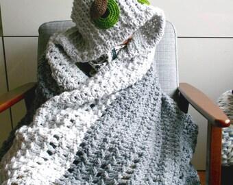 Crochet blanket pattern, Sleepy Afghan Crochet pattern, hooded blanket crochet pattern (263) INSTANT DOWNLOAD