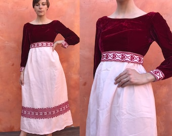 Vintage 1960s Red Peach embroidered Empire Waist Maxi Dress. Prom cocktail Party Formal Evening. Regency Jane Austen xs Small Size 0 2 4