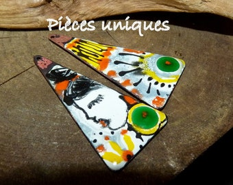 Art portrait charms-rustic and Bohemian-enamel on copper, yellow, green... 45 x 20 mm - Spike - charms-Bohemian enameled charms
