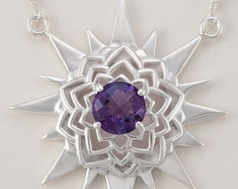 Chakra Necklace-Sterling Silver, Amethyst