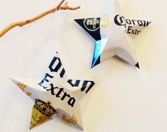 Corona Extra Beer Stars Christmas Ornaments Aluminum Can Repurposed