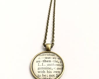 AUTHENTIC Vintage Dictionary Word Pendant