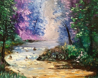 "River- Spring trees- wall art- palette knife - oil painting by us artist Greg Gilreath ""Secret place"""