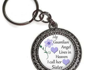 Sister, My Guardian Angel In Heaven, Key Ring, Chain, Purse Charm, Zipper Pull, In Memory Of, Memorial, Remembrance, Bereavement, Keepsake