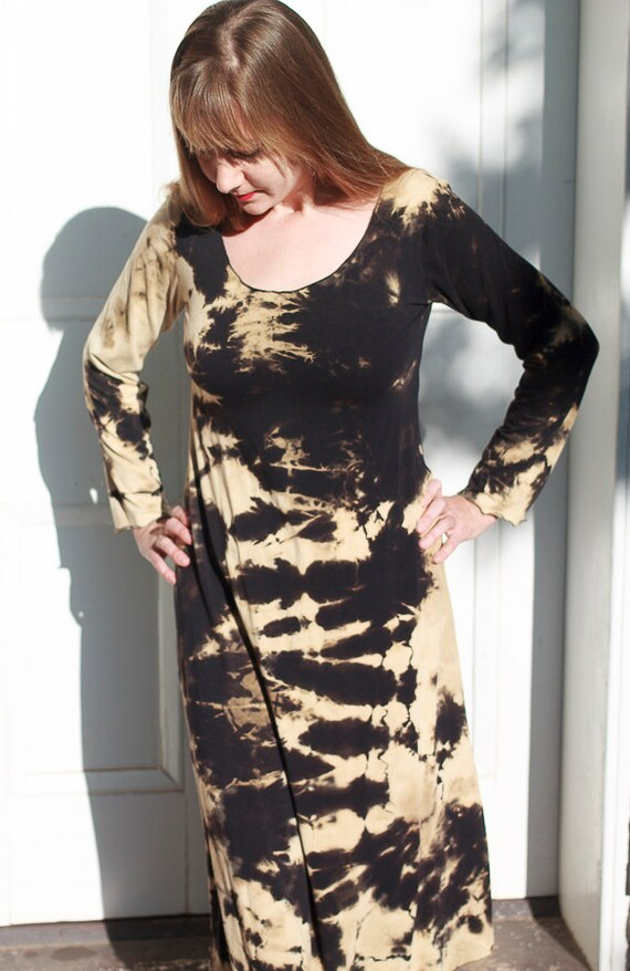 Shibori River Dress, American Grown Black Organic Cotton Jersey, Discharge Shibori A-line Dress