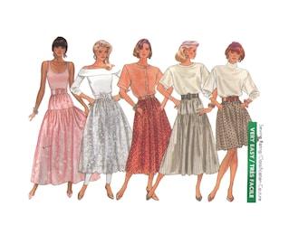 Uncut Butterick 5956, 80s sewing pattern, size 12-16 women's dirndl skirt, flared skirt, midi skirt maxi skirt, ankle length