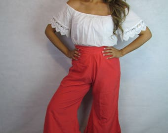 Vintage 70s Red Silk Bell Bottom Pants/ Japanese Silk Pants/ Vintage Palazzo Pants/ High Waisted Bell Bottoms