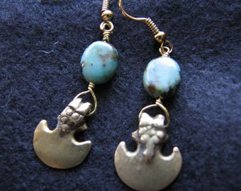 Brass tribal earrings | bohemian | turquoise | statement | African turquoise | gold dangle | small