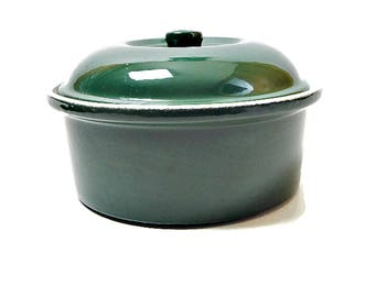 Dark Green Stoneware Casserole Baking Dish with Lid Signed Cerutil Portugal