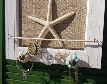 Picture Frame Jewelry Organizer - Starfish Jewelry Holder - Beach theme Jewelry Frame
