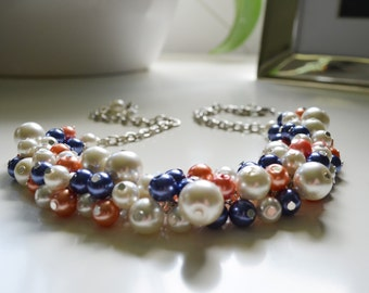 Pearl Necklace, Navy, Coral and Ivory Pearl Necklace, Coral & Blue Jewelry, Chunky Necklace, Coral Necklace, Beachy Jewelry, FREE SHIPPING