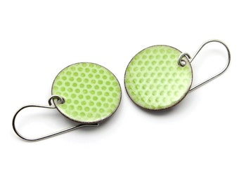 Green Enamel Earrings - Pastel Green Dangle Earrings - Round Polka Dot Earrings - Modern Enamel Jewelry