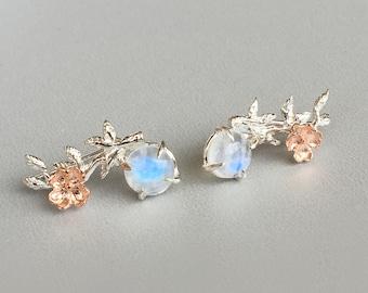 Rainbow Moonstone Earrings  Rose Gold Ear Climber Earrings Flower sterling silver ear climbers Sakura earrings  crawler Bridesmaid gift