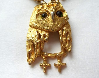 Owl Necklace, Vintage Necklace, Tancer II Necklace, Vintage Pendant, Gold Metal Jewelry, Articulated Owl, 1970s