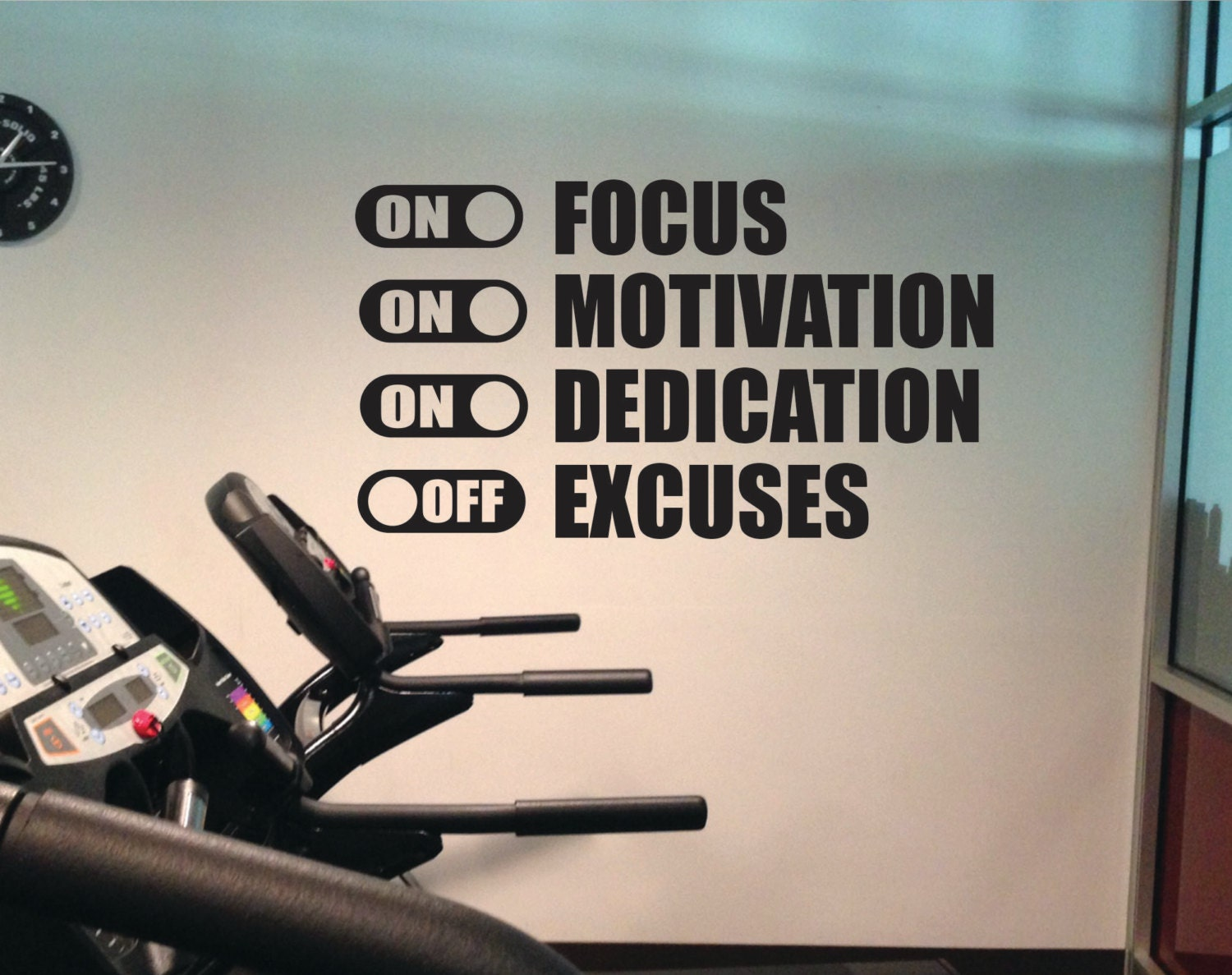 office wall decal. Fitness Wall Decal, Classroom Decor, Office FOCUS MOTIVATION DEDICATION On Excuses Off Decal L