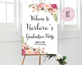 graduation welcome sign printable grad party sign class of 2018 fl01