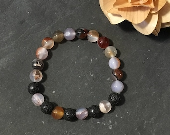 Agate Diffuser Bracelet, Aromatherapy, Gifts for Her, Gemstone Jewelry, Stretch Bracelet, Essential Oils