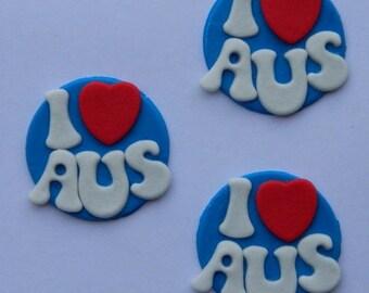 12 x edible AUSTRALIA DAY TOPPERS i heart aus  cake topper disc wedding birthday aussie anniversary tourist holiday patriotic