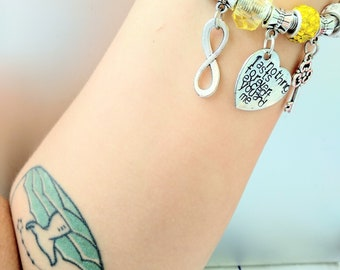 Biffy Clyro, Nothing Lasts forever except you and me, love bracelet, with charms, infinity, yellow, Simon Neil, handstamped, heartshaped,OFK