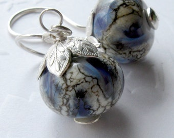 Silver Blue Earrings Sterling Silver Blue Lampwork