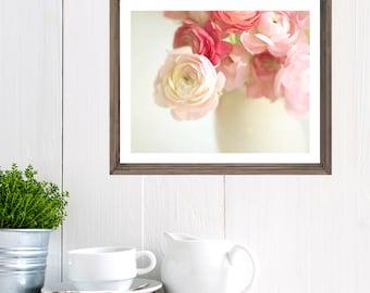 Pink Ranunculus Photo,  flower print, shabby chic, cottage home decor, still life, flowers, floral, flower photography floral artwork