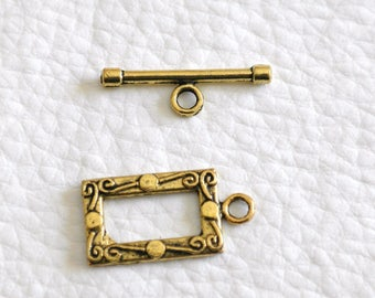Toggle clasp rectangular antique gold