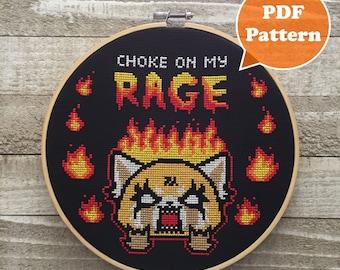 Kawaii Cross Stitch Pattern - Choke On My Rage - Angry Red Panda Cross Stitch - Modern Cross Stitch Pattern - Death Metal Cross Stitch PDF