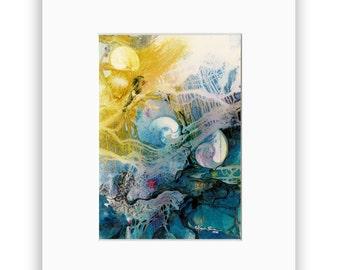 "Sea Shell art archival print in Mat, sea, ocean ""Hidden Treasure"" from original painting by Kathy Morton Stanion EBSQ"