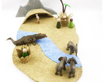 African Savanna River Playscape Play Mat - wool felt pretend play storytelling Zoo Africa safari animals cave