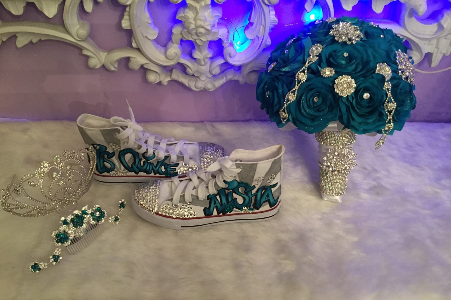 Hand made quinceanera shoes and flower bouquet description beautiful grafiti style decorated quinceanera shoes and matching bouquet izmirmasajfo