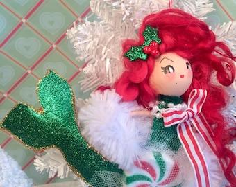 Christmas ornament  mermaid ornament mermaid doll vintage retro inspired beach coastal nautical theme holiday doll