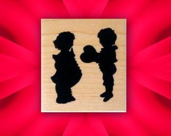 YOUNG LOVE mounted rubber stamp, Children Silhouette, Valentine, heart, Victorian Valentine's, Sweet Grass Stamps No.3