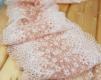 Peach Sorbet  21 cm wide Crochet Look Stretch lace by the meter