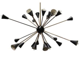 Chandelier Sputnik 24 arm design black 1970 to 1979