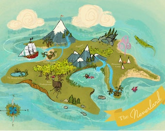 Giant Map of the Neverland // 24x36 Poster