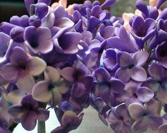 Sugar Gumpaste Purple Lilacs for cake decorating