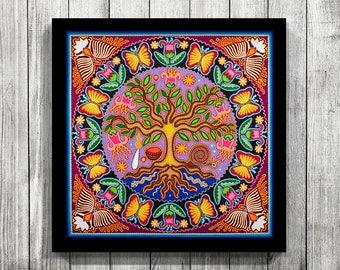 Mexican Art, Huichol Art, Huichol Print, Mexican Print, Digital Print, Mexican Digital Art, Mexican wall art, Mexican Painting,Mexican decor