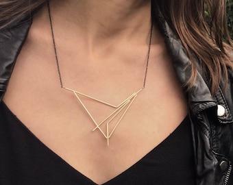 18K Gold Plated Brass Necklace, Handmade Modern Brass Necklace, Modern Geometric Triangle Necklace, Gift for Her, Christmas Gift For Women