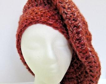Red Wool Slouchy Hat Large Red Garnet Oversize Tam Beret Beanie Dreadlocks Handmade Crochet Womans Cap Mans Easter Spring Big Hair