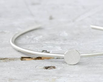Bracelet Point 925 silver, cuff bottom open, plain silver jewelry, dot, modern