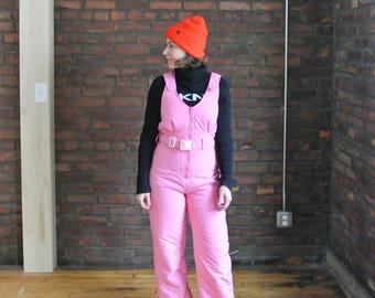70's Vinatge || Bubblegum Pink Snowsuit || Ski Bunny Outfit || Snowsuit Onsie || 0484
