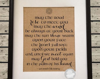 Irish Blessing | May the road rise to meet you | Burlap Art Print | St Patrick's Day | Housewarming, Wedding Gift | Frame not included