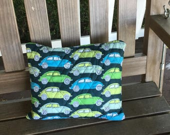 Quilted VW Beetle Pillow, 14x11 inches